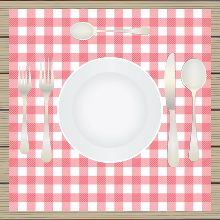 etiquette: Table setting, etiquette. Top view. Elements for design: plate, fork, spoon, knife, table-napkin, wooden table. Illustration