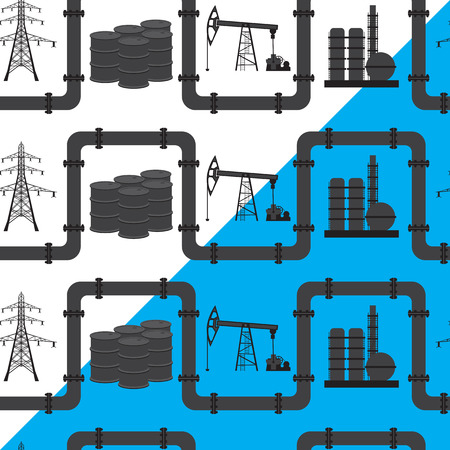 power industry: Oil, gas and electric power industry. Seamless pattern background. Silhouette of a high voltage line, barrel of oil, the oil rig. Can be used for backgrounds, infographics backgrounds, banners, presentations, brochures, diagrams, graphs, wallpaper, web pa