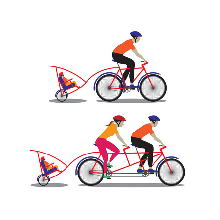 family hiking: Father and mother biking with little son. Vector illustration. Elements for design. Illustration