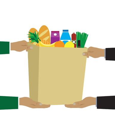 alimentos y bebidas: Colorida ilustración vectorial concepto de entrega de comestibles.