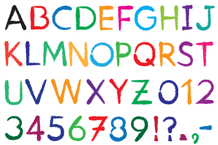 Font. Alphabet. #3. Letters A-Z + Numbers 0-9  + exclamation mark (!) + question mark (?) + point + comma + dash, hyphen (-). The font is drawn with a brush. Color can be changed easily.