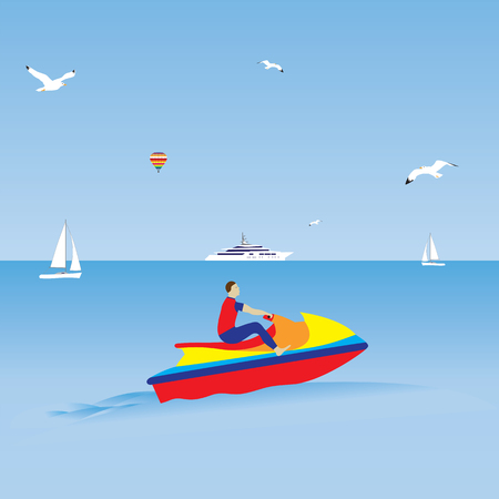 water jet: Man on a jet ski. Water sports. Summer vacation. Illustration, elements for design.