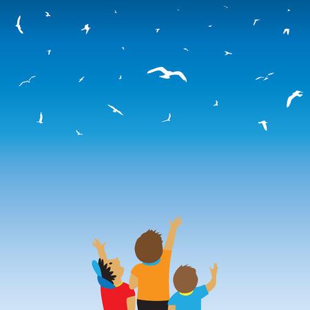thrilling: Children and birds in the sky. Childhood. Illustration, elements for design.