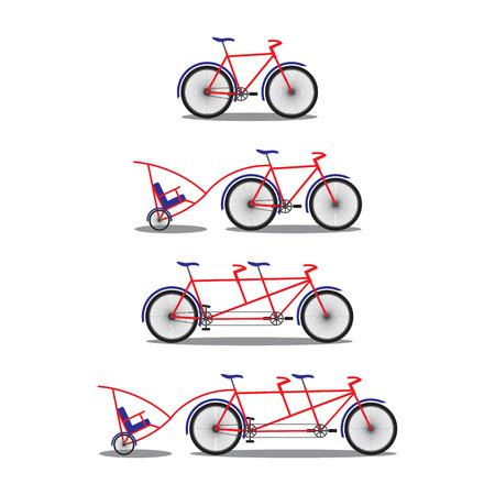 deuce: Bicycle and tandem-bicycle. Various kinds. Illustration, elements for design. Illustration