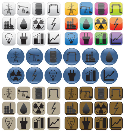 Oil, gas and electric power industry. Icons in various styles. Can be used for web pages, posters, banners and other design.