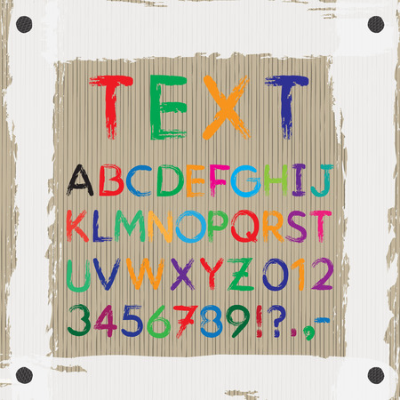 numbers clipart: Board for text and images. Font. Alphabet. Letters A-Z + Numbers 0-9  + exclamation mark (!) + question mark (?) + point + comma + dash, hyphen (-). The font is drawn with a brush. Color of a font can be changed easily. Illustration