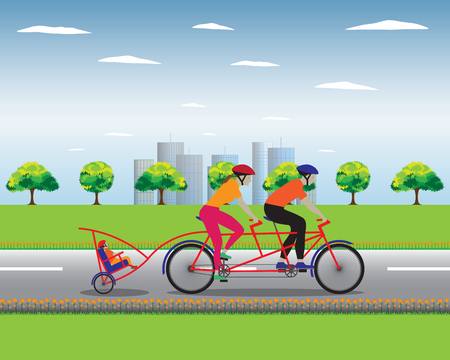 dad son: Father and mother biking with little son. Vector illustration. Elements for design. Illustration