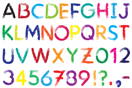 hyphen: Font. Alphabet. #4. Letters A-Z + Numbers 0-9  + exclamation mark (!) + question mark (?) + point + comma + dash, hyphen (-). The font is drawn with a brush. Color of a font can be changed easily.