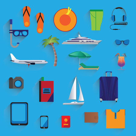deck chair isolated: Travel, vacation, tourism. Icons. Elements for design. Illustration