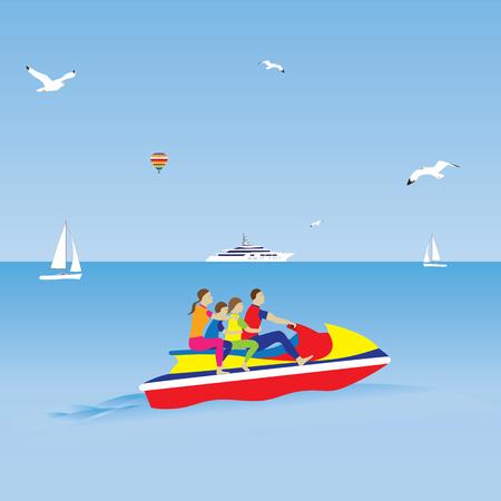 jet ski: Familia en una moto de agua. Vacaciones familiares. Deportes acu�ticos. Ilustraci�n, elementos de dise�o.