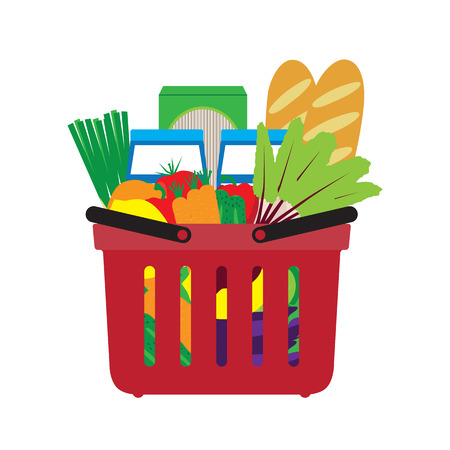 garden stuff: Basket with food. Shopping in the store. Vector illustration.