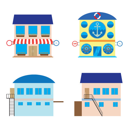 food store: Facade of shop, sea food store and warehouses. Elements for design. Illustration