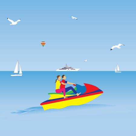 moto acuatica: Pareja en una moto de agua. Vacaciones de verano. Deportes acuáticos. Ilustración, elementos de diseño.