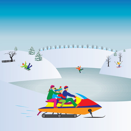 family vacation: Happy family on a Snowmobile. Winter, Christmas vacation. Active family. Illustration, elements for design. Illustration