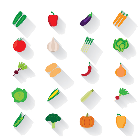 cucumber salad: Vegetable flat icons with a shadow. Illustration
