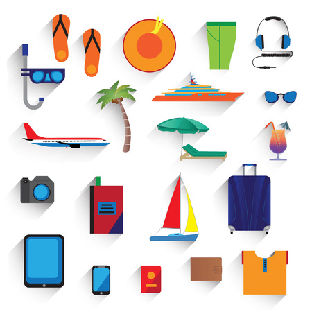 deck chair isolated: Travel, vacation, tourism. Icons, elements for design. Illustration
