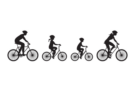 Silhouette of family on bicycles. Elements for design.