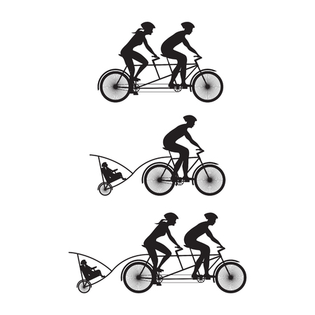 velocipede: Silhouette of family on bicycles. Bicycle and tandem-bicycle. Various kinds.