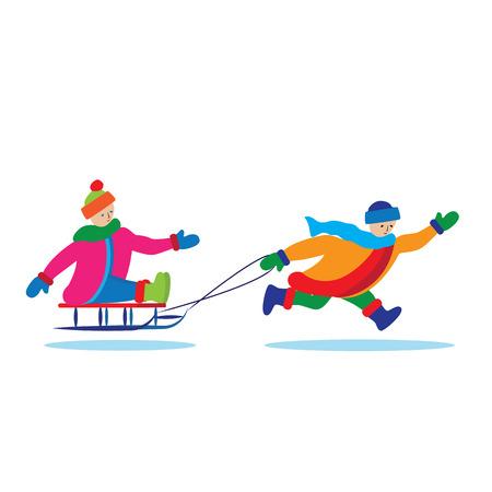 sled: Children with sled. Illustration, elements for design.