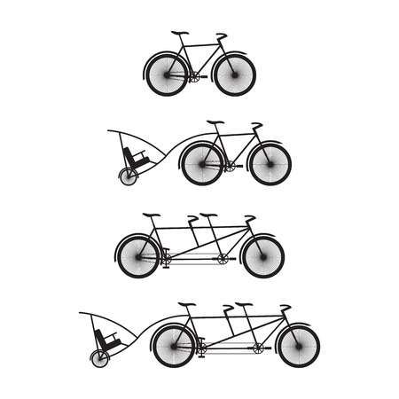deuce: Silhouettes of bicycles and tandem-bicycles. Various kinds.