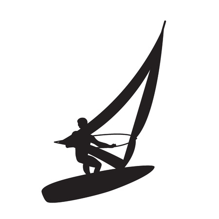 windsurfing: Silhouette of a windsurfer on a board for windsurfing.