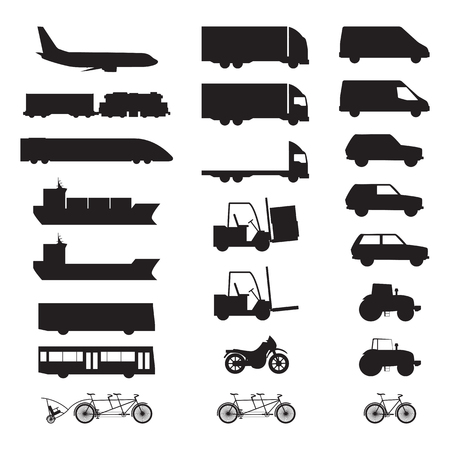 ship sign: Silhouettes of various vehicles. Plane, train, ship, bus, truck, car, tractor, motorbike, bicycle. Illustration