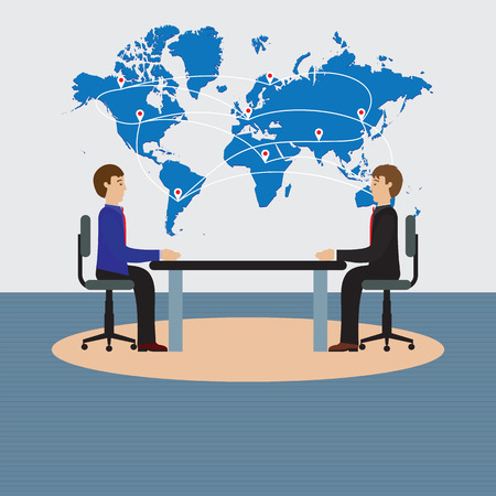 negotiations: Businesspeople sitting at the table. Negotiations, discussion. Illustration, elements for design.