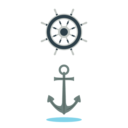 ship anchor: Anchor and steering wheel of the ship. Illustration, elements for design. Illustration