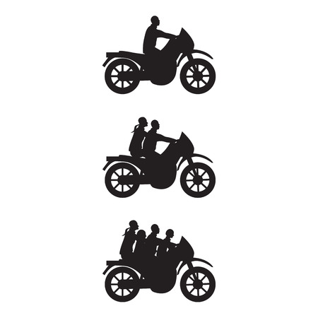 black family: Black silhouettes of man, couple and family on a motorbike. Illustration