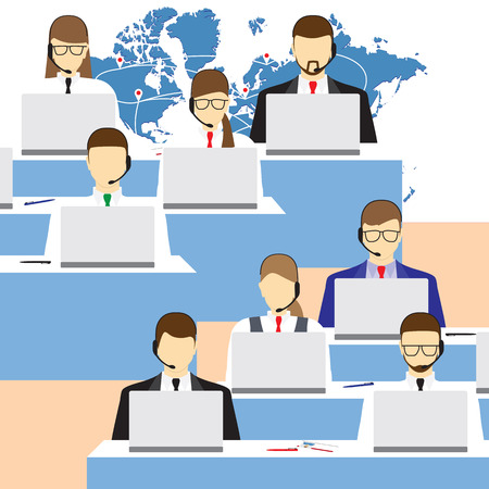 centre: Men and women working in a call center. Call center. Support service. Concept, illustration, elements for design.