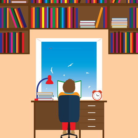 happy young: Child reading a book. Reading, education, knowledge, learning  concept  flat illustration.