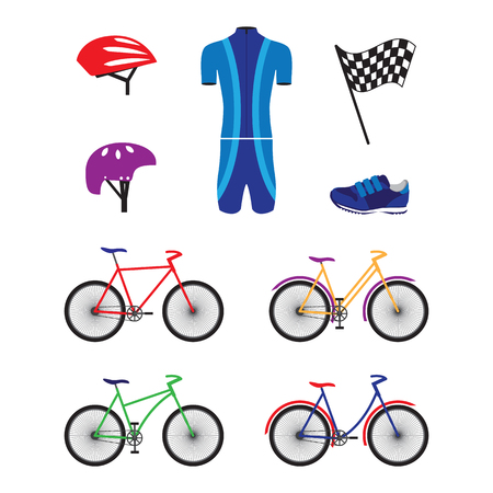 Bicycles and sports equipment for cycling. Helmets, tracksuit, shoes, flag.