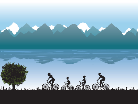 landscape road: Black silhouettes of family on bicycles against the background of mountains and lake. Illustration, elements for design. Illustration