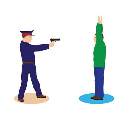 criminal: Criminal, offender and Police officer. Illustration, elements for design. Illustration