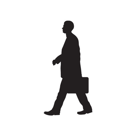 male  man: Black silhouette of the person with a briefcase.