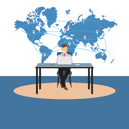 Person, businessman sitting at the table. Illustration, elements for design. Vettoriali