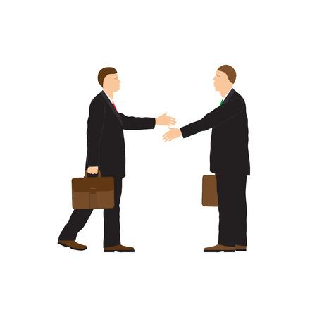 handshake: Dos hombres de negocios. Apret�n de manos. Saludo. Felicitaci�n. Conclusi�n del contrato. Vectores