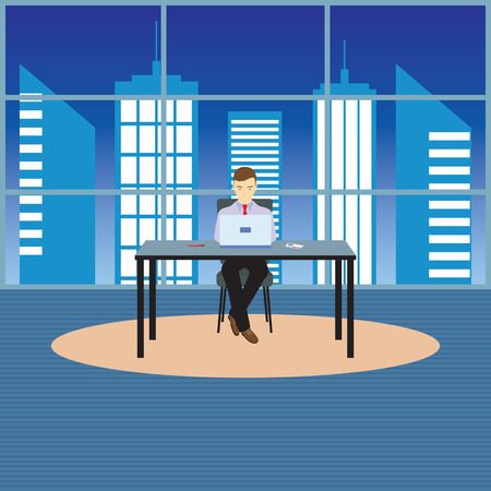 Person, businessman sitting at the table. Illustration, elements for design. Vectores