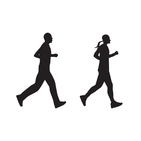 black woman: Black silhouette of running people, couple. Man and woman. Illustration