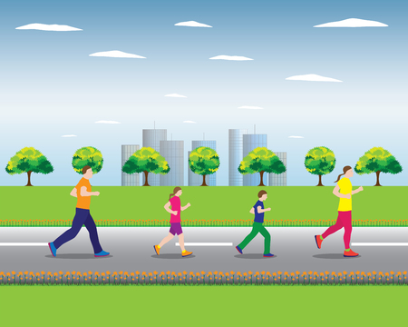 man hiking: Running family. Active family. Family sports. Illustration, elements for design.
