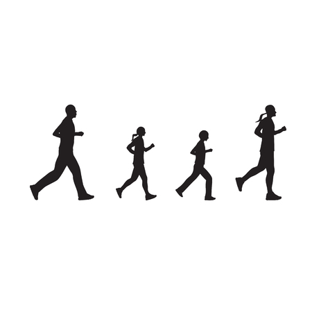 black family: Black silhouettes of running people. Family.