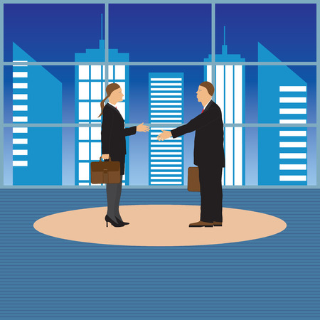 conclusion: Two businessmen. Man and woman. Handshake. Greeting. Congratulation. Conclusion of the contract. Illustration