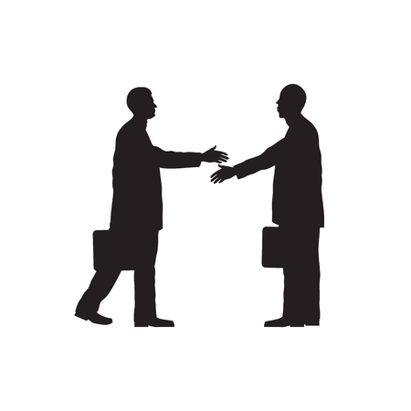 conclusion: Black silhouettes of two businessmen. Handshake. Greeting. Congratulation. Conclusion of the contract.