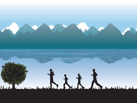 silueta hombre: Negro siluetas de personas corriendo (familia) contra el fondo de las monta�as y el lago. Ilustraci�n, elementos de dise�o.