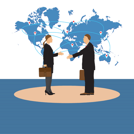 map case: Two businessmen. Man and woman. Handshake. Greeting. Congratulation. Conclusion of the contract. Illustration