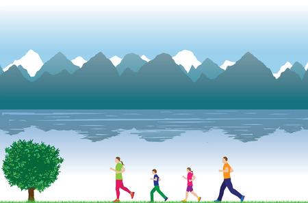 trek: Running family, people. Family sports. Active family. Illustration, elements for design. Illustration