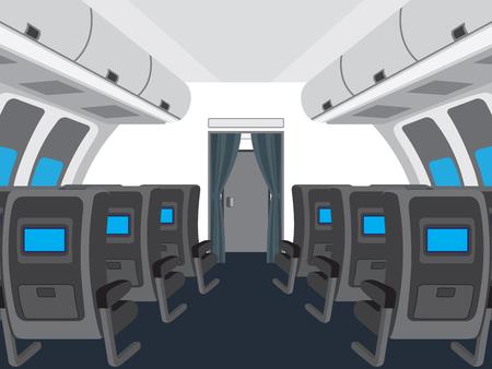 Interior of salon of the plane. Illustration, elements for design.