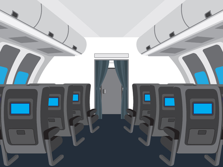 aeroplane: Interior of salon of the plane. Illustration, elements for design.