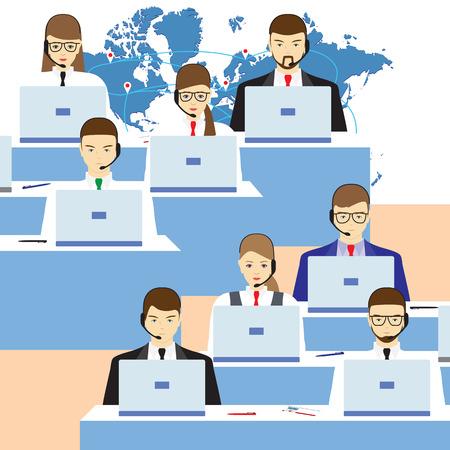 Mannen en vrouwen werken in een call center. Callcenter. Ondersteunende dienst. Concept, illustratie, elementen voor het ontwerp.