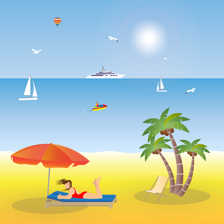 deckchair: Young girl lying on the beach under an umbrella. Illustration, elements for design. Illustration
